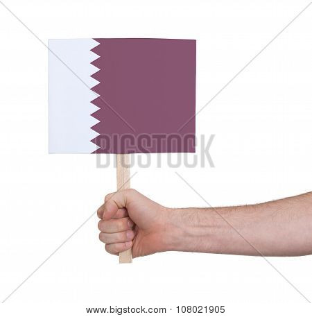 Hand Holding Small Card - Flag Of Qatar