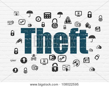 Security concept: Theft on wall background