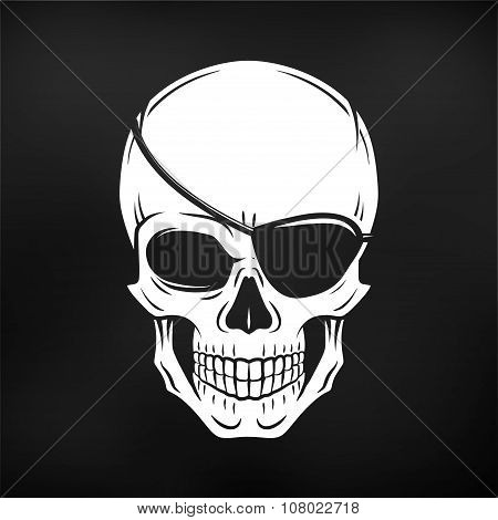 Jolly Roger with eyepatch logo template. Evil skull vector. Dark t-shirt design on black background.