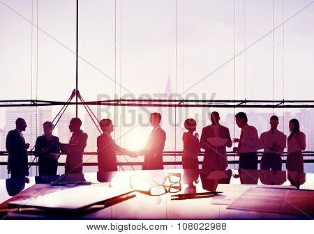 Back Lit Business People Corporate Cityscape Handshake Concept