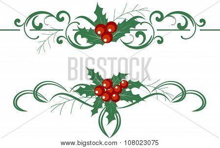 Christmas decoration holly set. Vector illustration.