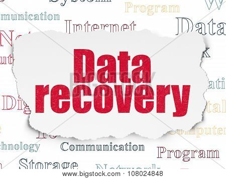 Data concept: Data Recovery on Torn Paper background