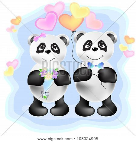 Couple Of Pandas  Illustration