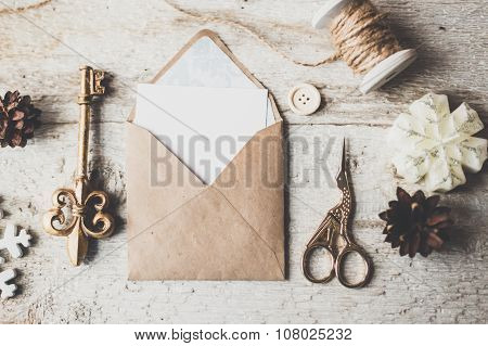 Cute Vintage Christmas New Year Gifts Mock Up On Wooden Background.