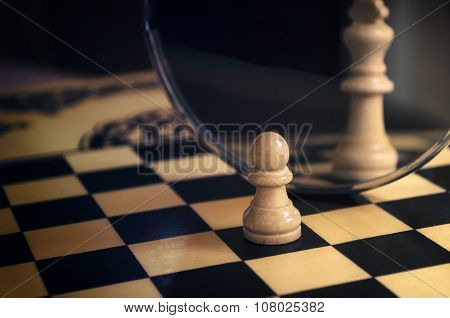 Chess Piece In The Mirror