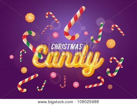 Cute Christmas Candy Font And Sweets Set On The Violet Background