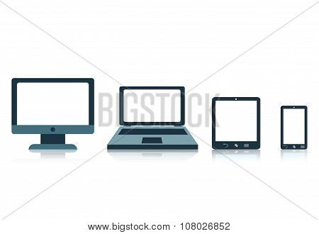 Concept With Electronic Devices Screen Tablet Laptop  Phone