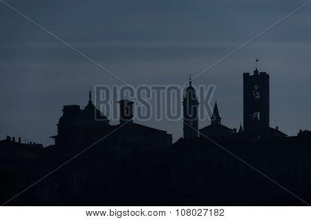 Silhouette of Bergamo high - citta alta - Italy