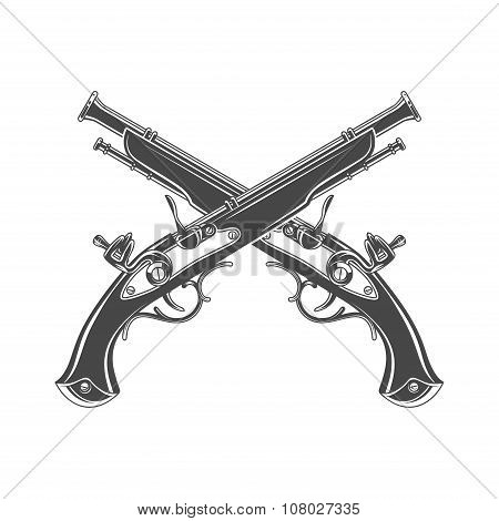 Firelock musket vector. Armoury logo template. Victorian t-shirt design. Steampunk pistol insignia c
