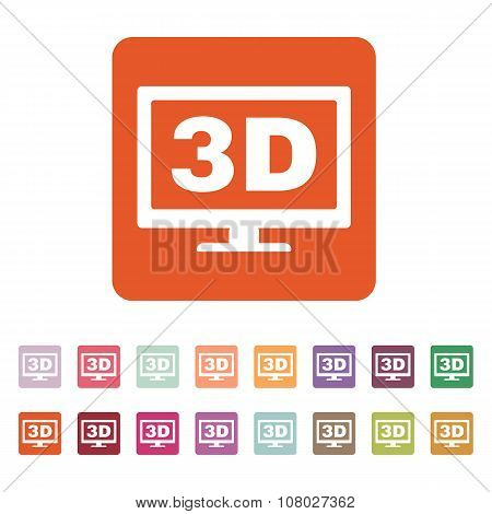 The 3d icon. Monitor and display, screen, movie symbol. Flat