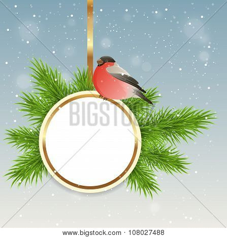 Christmas Background With Round Banner