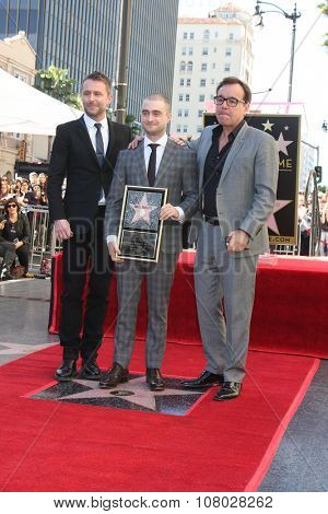 LOS ANGELES - NOV 12:  Chris Hardwick, Daniel Radcliffe, Chris Columbus at the Daniel Radcliffe Hollywood Walk of Fame Ceremony at the Hollywood Walk of Fame on November 12, 2015 in Los Angeles, CA
