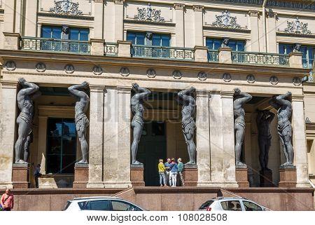 Portico With Granite Atlantes