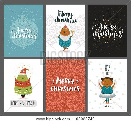 Vector Christmas and New year cards collection