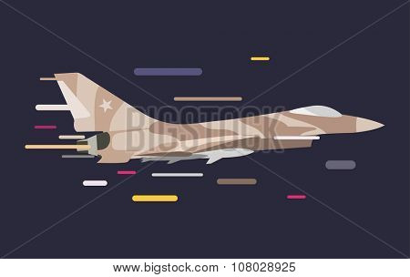 War military plane vector illustration. War airplane sky force fighter vector silhouette. War plane isolated flying on background. War military airplane vector isolated left view. Military airplane