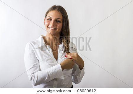 Beautiful Girl Holding Hair