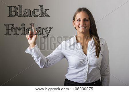 Black Friday - Beautiful Girl Touching Transparent Surface