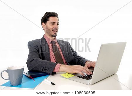 Businessman Working At Office Computer Laptop Looking Happy Satisfied And Relaxed