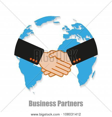 Business Partners World With Shadow On A White Background