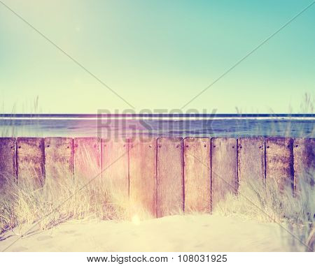 Beach Fence Summer Travel Vacation Plank Timber Concept