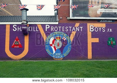 Loyalist Mural On The Shankill Road In West Belfast.