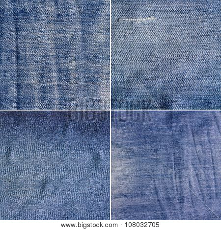 Four blue denim jeans texture(high res.)