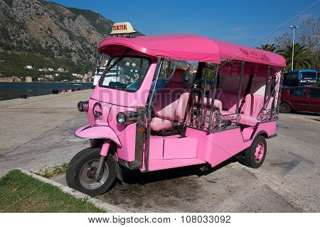 Pink Auto Rickshaw Or Tuk-tuk On The Street Of Kotor. Montenegro