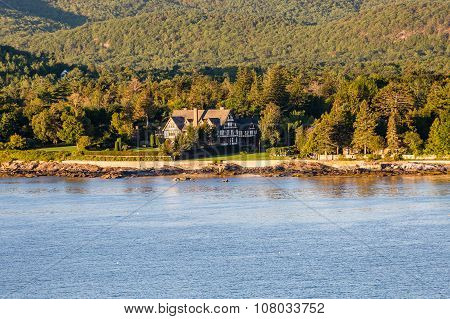 Tudor Mansion Among Coastal Evergreens