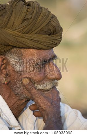 Portrait Indian Man In Pushkar. India