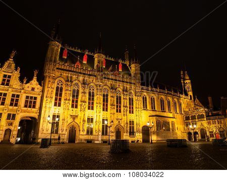 Burg square with the City Hall in Bruges by night