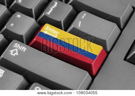 Enter Button With Colombia Flag