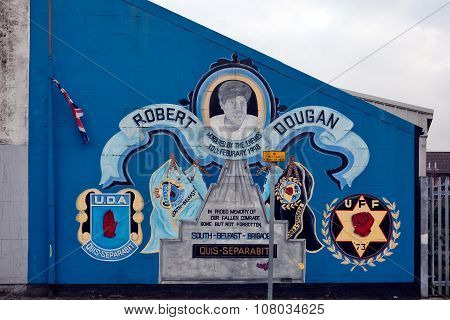 Loyalist Paramilitary Mural In Belfast, Northern Ireland