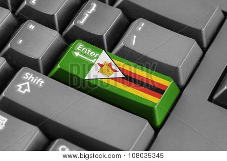 Enter Button With Zimbabwe Flag