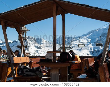 DOLOMITES ALPS, ITALY - FEBRUARY 16, 2015:Skiing area in the Dolomites Alps. Overlooking the Sella group in Val Gardena. Italy