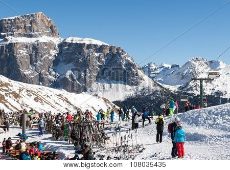DOLOMITES ALPS, ITALY - FEBRUARY 17, 2015: Skiing area in the Dolomites Alps. Overlooking the Sella group in Val Gardena. Italy