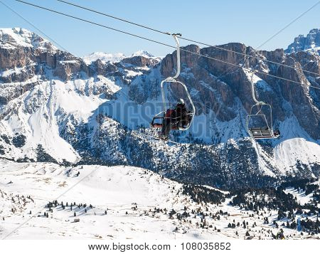 DOLOMITES ALPS, ITALY - FEBRUARY 18, 2015: Skiing area in the Dolomites Alps. Overlooking the Sella group in Val Gardena. Italy