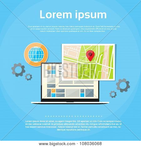 Laptop World Map Gps Globe Navigation