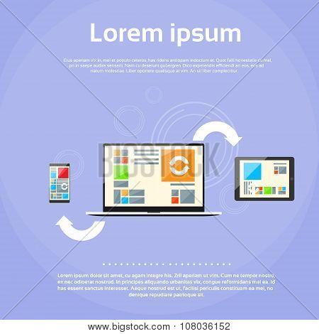 Laptop Computer Tablet Phone Synchronize Internet Cloud