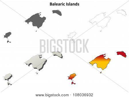 Balearic Islands blank outline map set