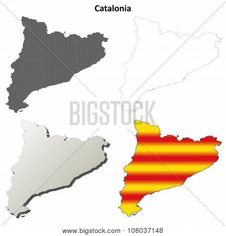 Catalonia blank outline map set - Catalan version