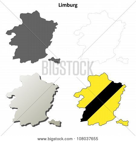 Limburg outline map set - Flemish version