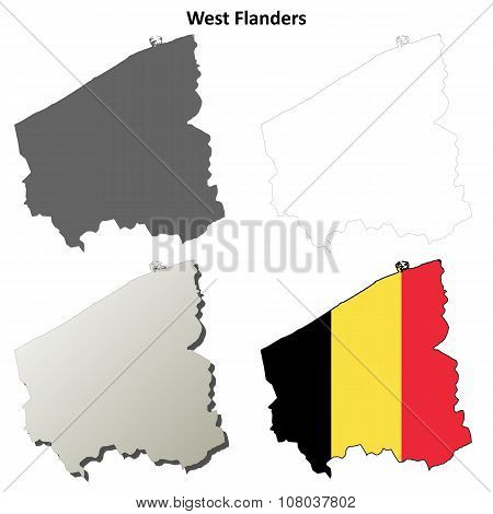 West Flanders outline map set - Belgian version