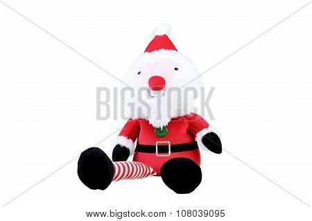 Toy Santa Sitting On White Background.