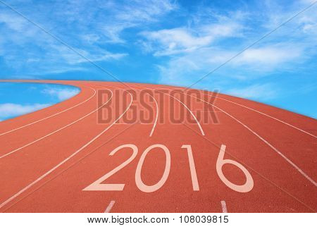 2016 On Red Racing Track With Blue Sky