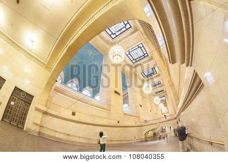 Fisheye Lens Photo Of Grand Central Terminal Interior.