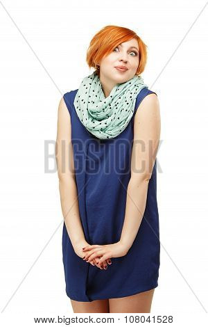 Close-up Portrait Of A Funny Red-haired Girl Emotionally Gesticulating His Hands Isolated On White B