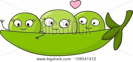 Cute peas isolated on white