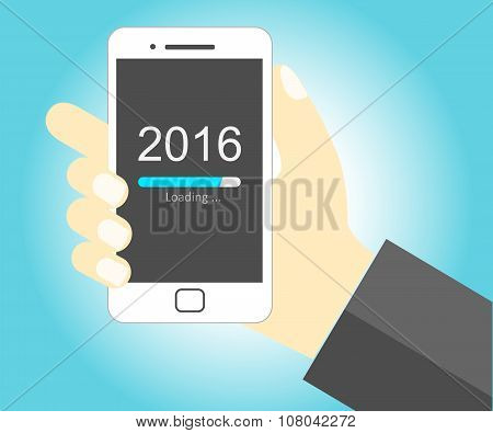 Smartphone with New Year 2016 loading - Vector