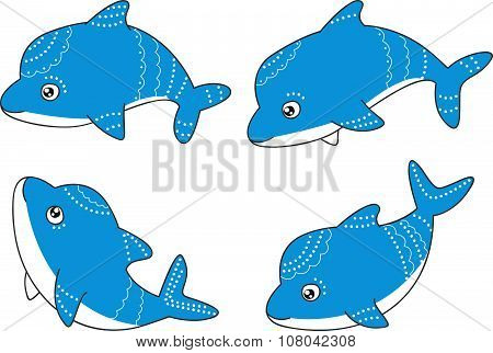 Set of cute little dolphins