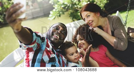 Family Relax Happiness Selfie Photo Concept